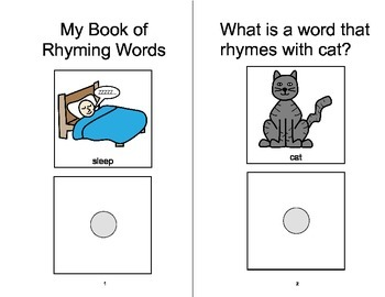 RHYMING Adapted Velcro BOOK, Speech Therapy, Autism, Phonological Awareness