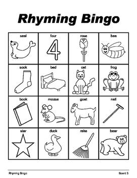 RHYMING BINGO Make & Take, SPEECH THERAPY