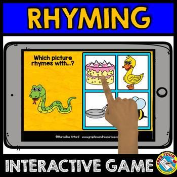 RHYMING GAMES FOR PRE-KINDERGARTEN (PHONOLOGICAL AWARENESS GAME) BOOM CARDS
