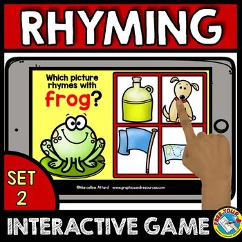 RHYMING GAMES PRESCHOOL (PHONOLOGICAL AWARENESS GAME) BOOM CARDS ELA
