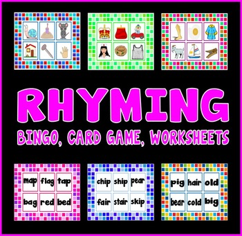 RHYMING RESOURCES EYFS KS1 - LETTERS SOUNDS BINGO, CARD GAMES, WORKSHEETS