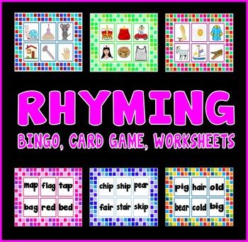 RHYMING RESOURCES EYFS KS1 - LETTERS SOUNDS BINGO, CARD GAMES, WORKSHEETS
