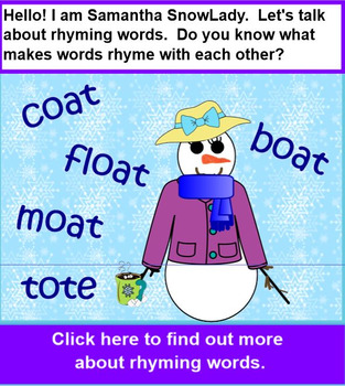 RHYMING Snowmen Lesson with PRINTABLE Card Set