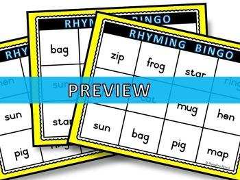 RHYMING ACTIVITIES PRESCHOOL, KINDERGARTEN (RHYMING BINGO GAME)