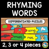 RHYME ACTIVITIES PRESCHOOL (DIFFERENTIATED RHYMING WORDS KINDERGARTEN PUZZLES)