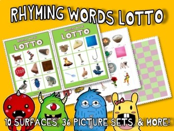 RHYMING LOTTO GAME w/ 36 Picture Cards : auditory phonological phonemes speech
