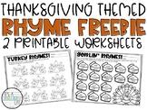 RHYMING Words FREEBIE | Thanksgiving Themed