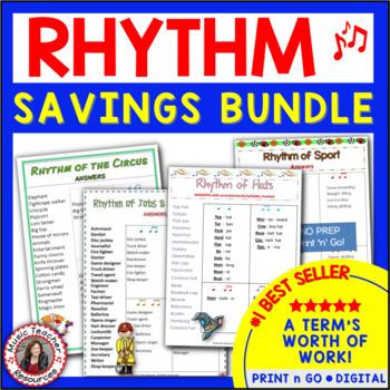 RHYTHM: Bundle of FOUR sets of Rhythm Worksheets