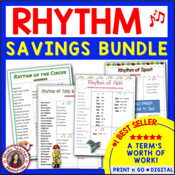 RHYTHM: Bundle of FOUR sets of Rhythm Worksheets