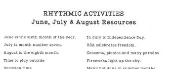 RHYTHMIC ACTIVITIES Summer Resources