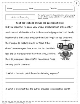 RI.1.8 - Author's Reasoning Worksheets