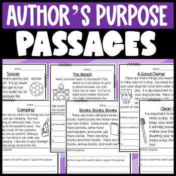 RI.1.8 Passages: Author's purpose and Supporing Reasons