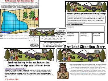 RI.1 Informational Inferencing Monster Quest Activity, Task Cards, Break Out