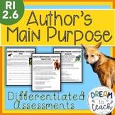 RI 2.6 Author's Main Purpose - Differentiated Assessments