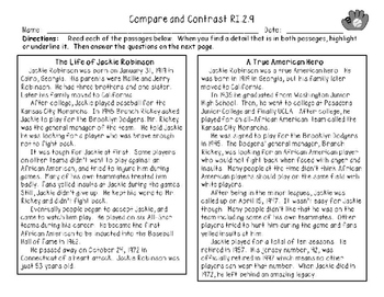 RI.2.9  Compare and Contrast Two Texts on the Same Topic- Jackie Robinson