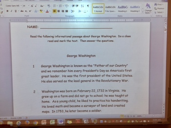 CCSS RI 3.2 Main Idea George Washington passage EBSR questions and test prep