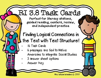 RI 3.8 Task Cards - Finding the Logical Connection with Text Structure