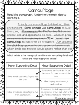 RI 4.2 Identifying Main Idea and Supporting Details Unit