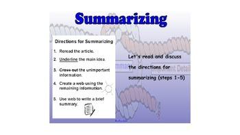 RI 4.2 Main Idea Summary (4 lessons in Smart Board Smart Notebook)