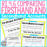 RI.4.6 Comparing Firsthand and Secondhand Accounts Anchor Charts