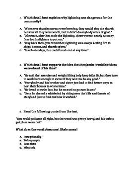"""RI 4.2 Summarize: """"How Ben Franklin Stole Lightening"""" CCLS Questions"""