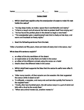 """RI 4.3 Cause & Effect: """"Cactus Hotel"""" CCLS Questions and Partner Activity"""