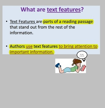 RI 4.7 Text Features PP (4 lessons 22 text features) Direct instruction