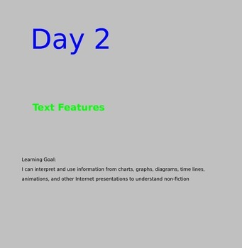 RI 4.7 Text Features SmartBoard (4 lessons 22 text features) Direct instruction