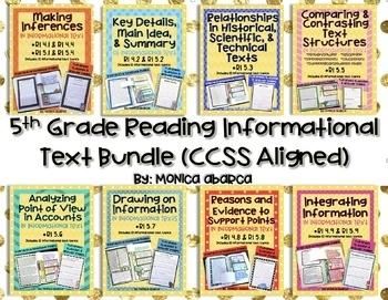 RI 5.1 - RI 5.9 Reading Informational Text Bundle (5th Grade CCSS Aligned)