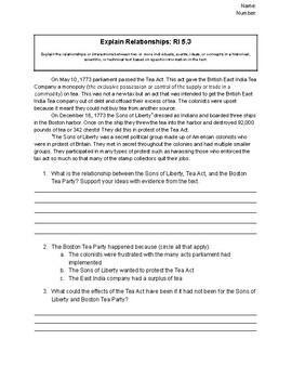RI 5.3 Explain Relationships CC Cold Read Quiz 5th Grade