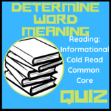 RI 5.4 Determine Word Meaning Cold Read Assessment Quiz Grade 5