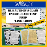 RI.8 Author's Claim/Argument Test Prep Task Cards Grades 6-8
