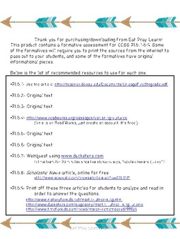 RI Formative Assessments-5th Grade