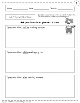 RI.1.1 - Ask and Answer Questions Worksheets
