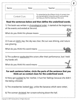 RI.1.4 - Unknown Words and Context Clues Worksheets