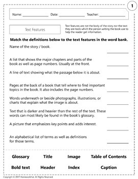RI.1.5 - Text Features Worksheets