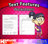 Distance Learning - Text Features Worksheets
