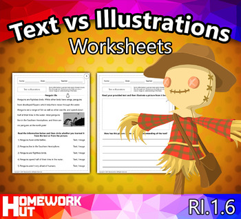 RI.1.6 - Text vs Illustrations Worksheets