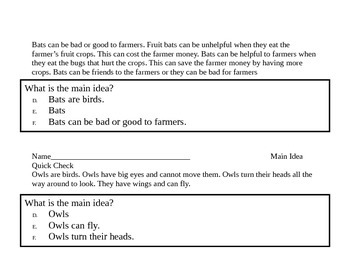 RI.1.2 Main Idea/Details with Aligned Resources for a Week's Lesson