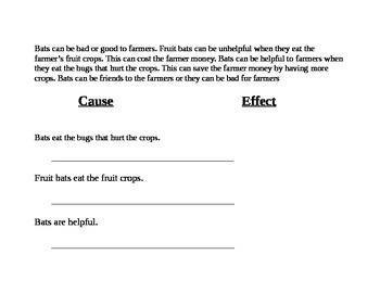 RI.1.3 Cause and Effect Passages with Informational Text on Bats