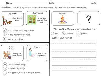 RI.1.3 First Grade Common Core: Connections Practice (Individuals)
