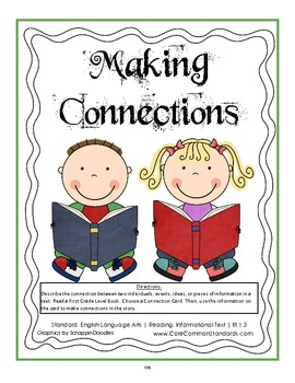 RI.1.3 First Grade Common Core Worksheets, Activity, and Poster