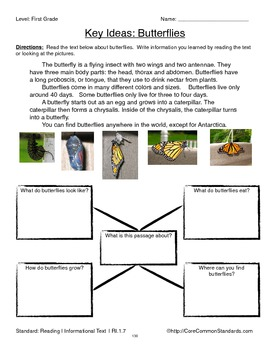 RI.1.7 First Grade Common Core Worksheets, Activity, and Poster