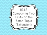 RI.1.9 - Comparing Two Texts on the Same Topic (Extension)