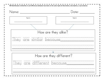 RI1.9 First Grade Reading Graphic Organizer (Similarities/Differences)