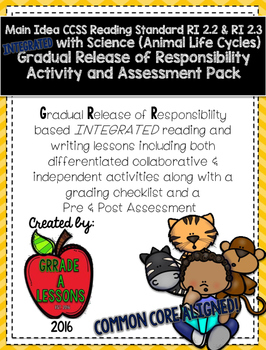 RI2.2 Main Idea w/Animal Life Cycle Gradual Release Activities & Assessment Pack