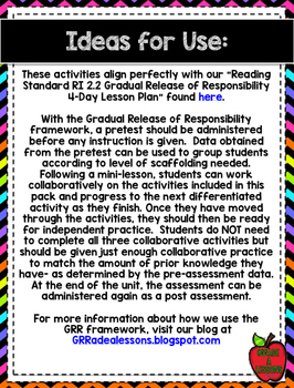 RI2.2 Main Idea w/Plant Life Cycle Gradual Release Activities & Assessment Pack