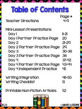 RI2.2 Main Idea with Science Integration Gradual Release 4-Day Lesson Plan Pack