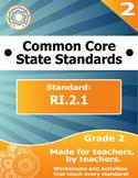 RI.2.1 Second Grade Common Core Bundle - Worksheet, Activity, Poster, Assessment