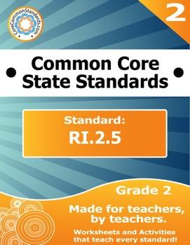 RI.2.5 Second Grade Common Core Bundle - Worksheet, Activity, Poster, Assessment